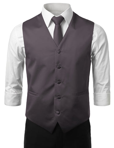 Charcoal Formal Tuxedo 3 Piece Vest Set (Vest, Necktie, Pocket Square)