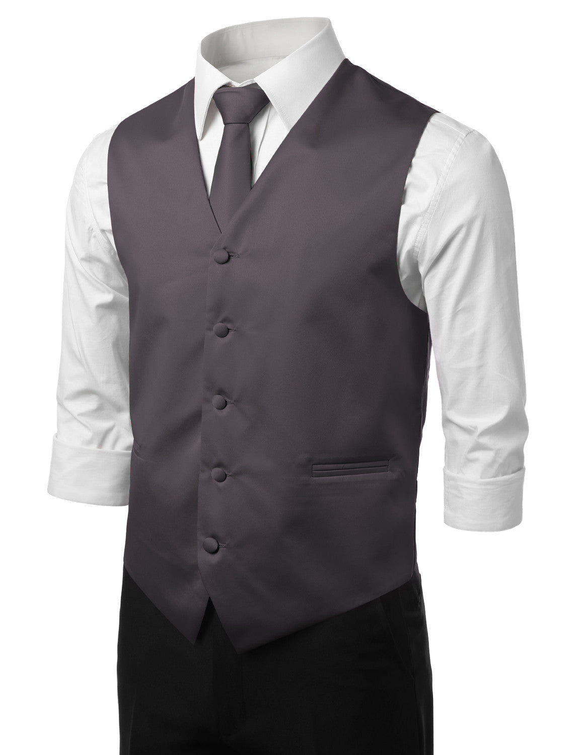 CHARCOAL16 Formal Tuxedo 3 Piece Vest Set (Vest, Necktie, Pocket Square)- MONDAYSUIT