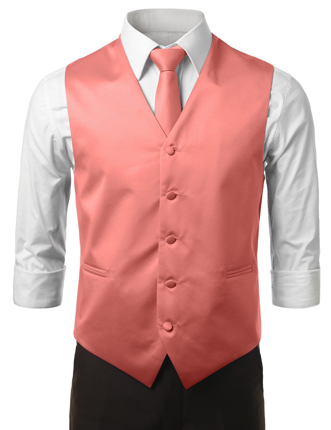 CORAL5 Formal Tuxedo 3 Piece Vest Set (Vest, Necktie, Pocket Square)- MONDAYSUIT