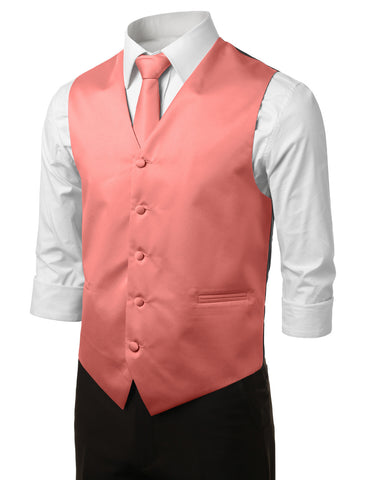 Coral Formal Tuxedo 3 Piece Vest Set (Vest, Necktie, Pocket Square)
