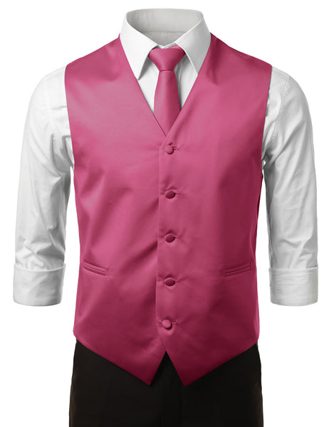 FUCHSIA4 Formal Tuxedo 3 Piece Vest Set (Vest, Necktie, Pocket Square)- MONDAYSUIT