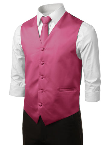 Fuchsia Formal Tuxedo 3 Piece Vest Set (Vest, Necktie, Pocket Square)