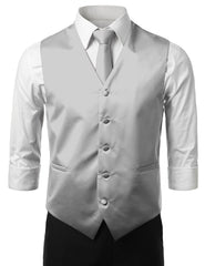 GRAY3 Formal Tuxedo 3 Piece Vest Set (Vest, Necktie, Pocket Square)- MONDAYSUIT