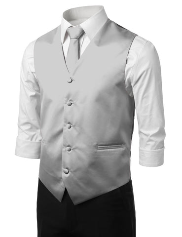 Gray Formal Tuxedo 3 Piece Vest Set (Vest, Necktie, Pocket Square)
