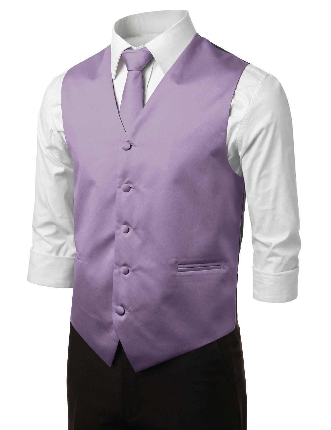 LAVENDER11 Formal Tuxedo 3 Piece Vest Set (Vest, Necktie, Pocket Square)- MONDAYSUIT
