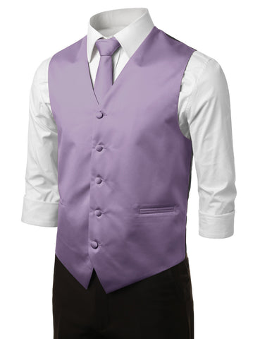 Lavender Formal Tuxedo 3 Piece Vest Set (Vest, Necktie, Pocket Square)