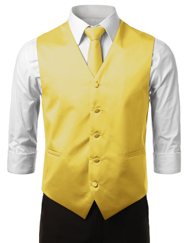Light Yellow Formal Tuxedo 3 Piece Vest Set (Vest, Necktie, Pocket Square)