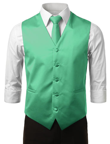Mint Yellow Formal Tuxedo 3 Piece Vest Set (Vest, Necktie, Pocket Square)