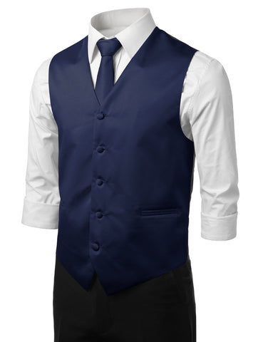 Navy Formal Tuxedo 3 Piece Vest Set (Vest, Necktie, Pocket Square)