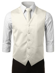 OFFWHITE2 Formal Tuxedo 3 Piece Vest Set (Vest, Necktie, Pocket Square)- MONDAYSUIT