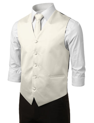 Off White Formal Tuxedo 3 Piece Vest Set (Vest, Necktie, Pocket Square)