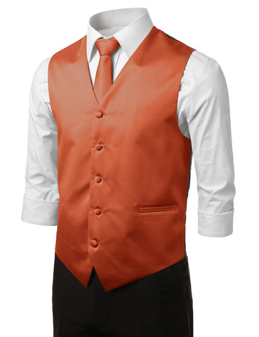 Orange Formal Tuxedo 3 Piece Vest Set (Vest, Necktie, Pocket Square)