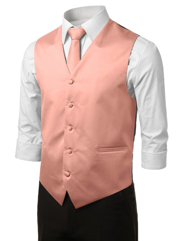 Peach Formal Tuxedo 3 Piece Vest Set (Vest, Necktie, Pocket Square)