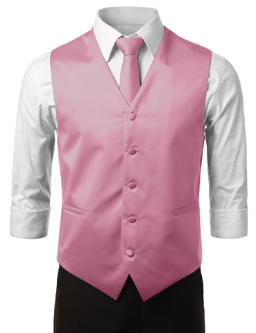 Pink Formal Tuxedo 3 Piece Vest Set (Vest, Necktie, Pocket Square)