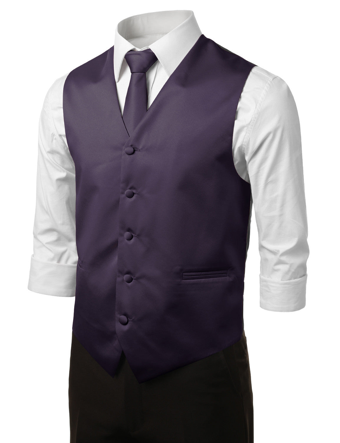 PURPLE7 Formal Tuxedo 3 Piece Vest Set (Vest, Necktie, Pocket Square)- MONDAYSUIT