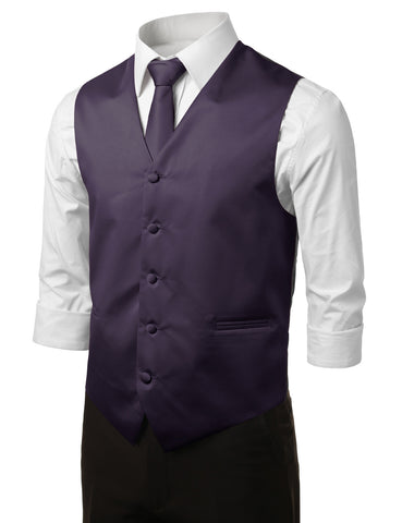 Purple Formal Tuxedo 3 Piece Vest Set (Vest, Necktie, Pocket Square)