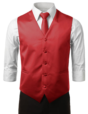 Red Formal Tuxedo 3 Piece Vest Set (Vest, Necktie, Pocket Square)