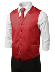 RED10 Formal Tuxedo 3 Piece Vest Set (Vest, Necktie, Pocket Square)- MONDAYSUIT