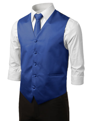 Royal Blue Formal Tuxedo 3 Piece Vest Set (Vest, Necktie, Pocket Square)