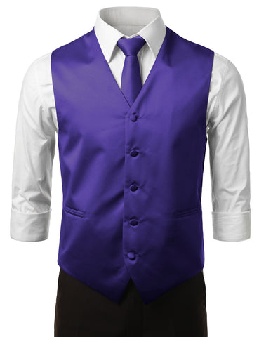 Royal Purple Formal Tuxedo 3 Piece Vest Set (Vest, Necktie, Pocket Square)
