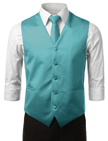 Teal Formal Tuxedo 3 Piece Vest Set (Vest, Necktie, Pocket Square)