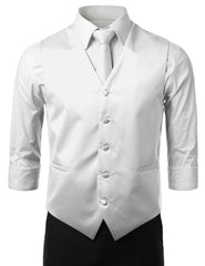 WHITE20 Formal Tuxedo 3 Piece Vest Set (Vest, Necktie, Pocket Square)- MONDAYSUIT