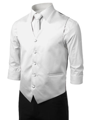 White Formal Tuxedo 3 Piece Vest Set (Vest, Necktie, Pocket Square)