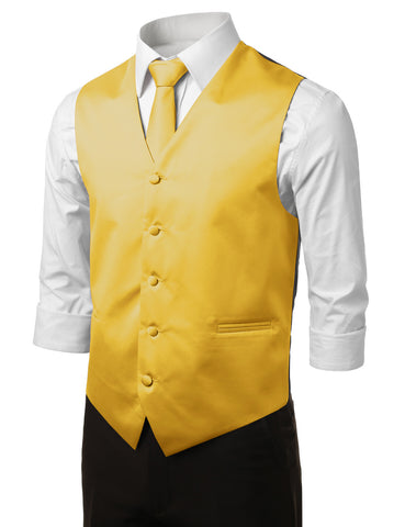 Yellow Formal Tuxedo 3 Piece Vest Set (Vest, Necktie, Pocket Square)