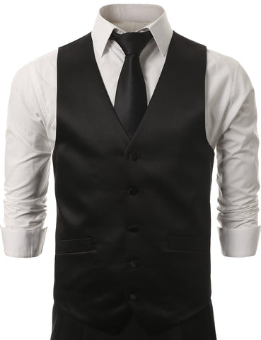Black Satin Tuxedo Slim Fit Vest (Big & Tall Available)
