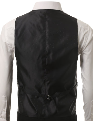 Black Satin Tuxedo Slim Fit Waistcoat Vest (Big & Tall Available)