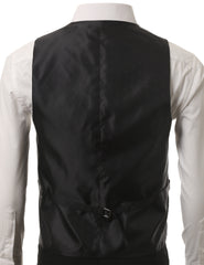 01BLK Satin Tuxedo Slim Fit Waistcoat Vest (Big & Tall Available)- MONDAYSUIT