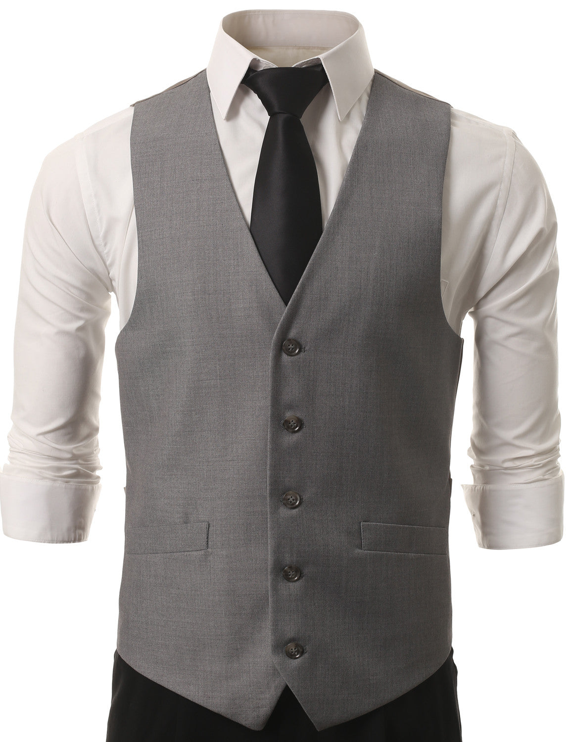 02GRY Satin Tuxedo Slim Fit Waistcoat Vest (Big & Tall Available)- MONDAYSUIT