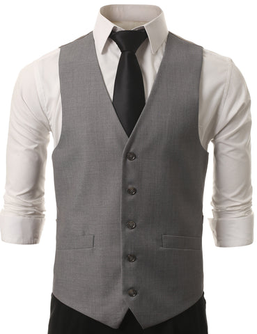 Gray Satin Tuxedo Slim Fit Waistcoat Vest (Big & Tall Available)