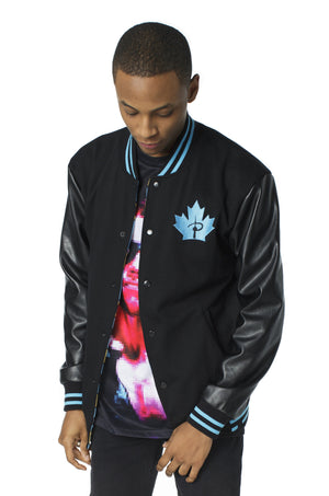 """PLAYER 1"" varsity jacket blue male 1"