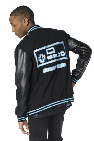"""PLAYER 1"" varsity jacket blue male 2"