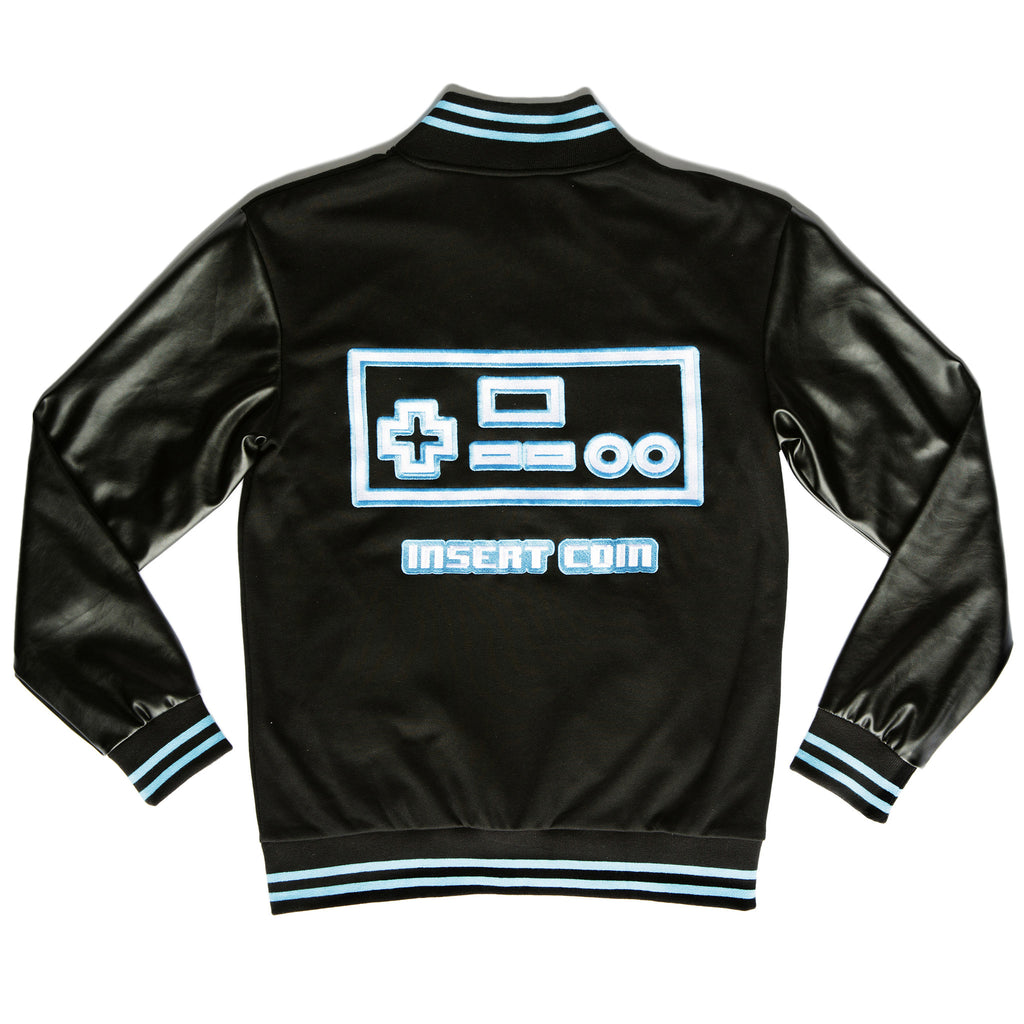 """PLAYER 1"" varsity jacket blue back"