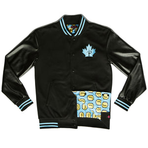 """PLAYER 1"" varsity jacket blue front"