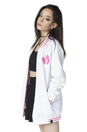 """PLAYER 1"" varsity jacket pink female 1"