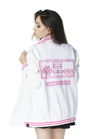 """PLAYER 1"" varsity jacket pink female 2"