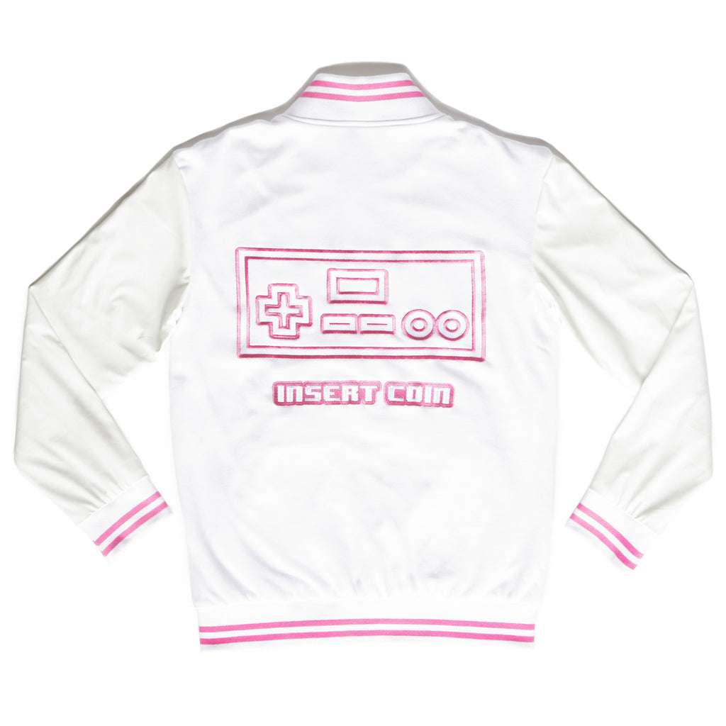 """PLAYER 1"" varsity jacket pink back"