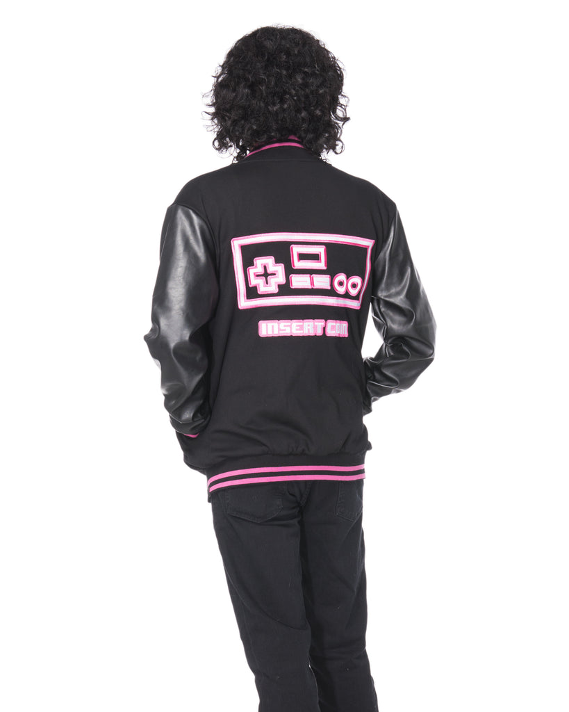 """PLAYER 1"" varsity jacket anniversary male back"