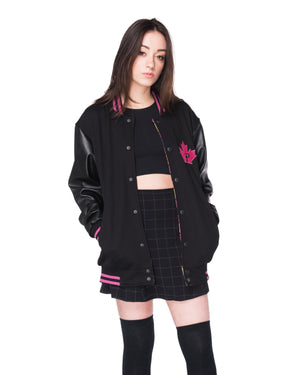 """PLAYER 1"" varsity jacket anniversary female front"