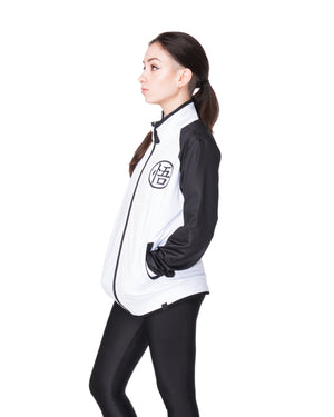 """LIMIT BREAKER"" track jacket black female front"