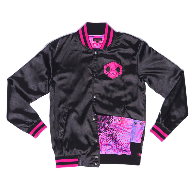 """HACKER"" varsity jacket female front"