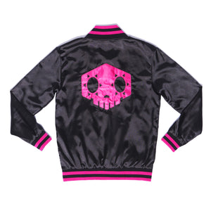 """HACKER"" varsity jacket back"