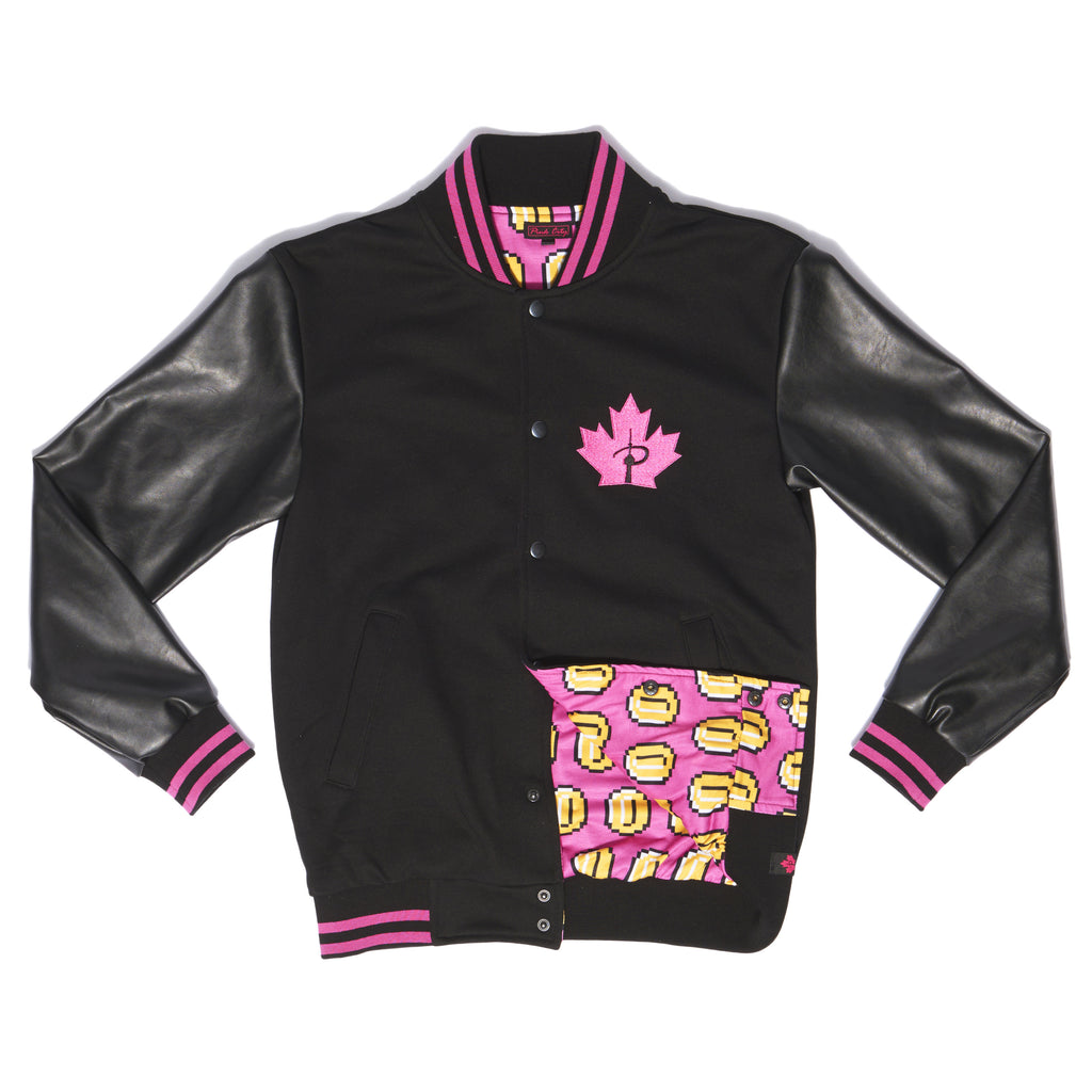 """PLAYER 1"" varsity jacket anniversary front"