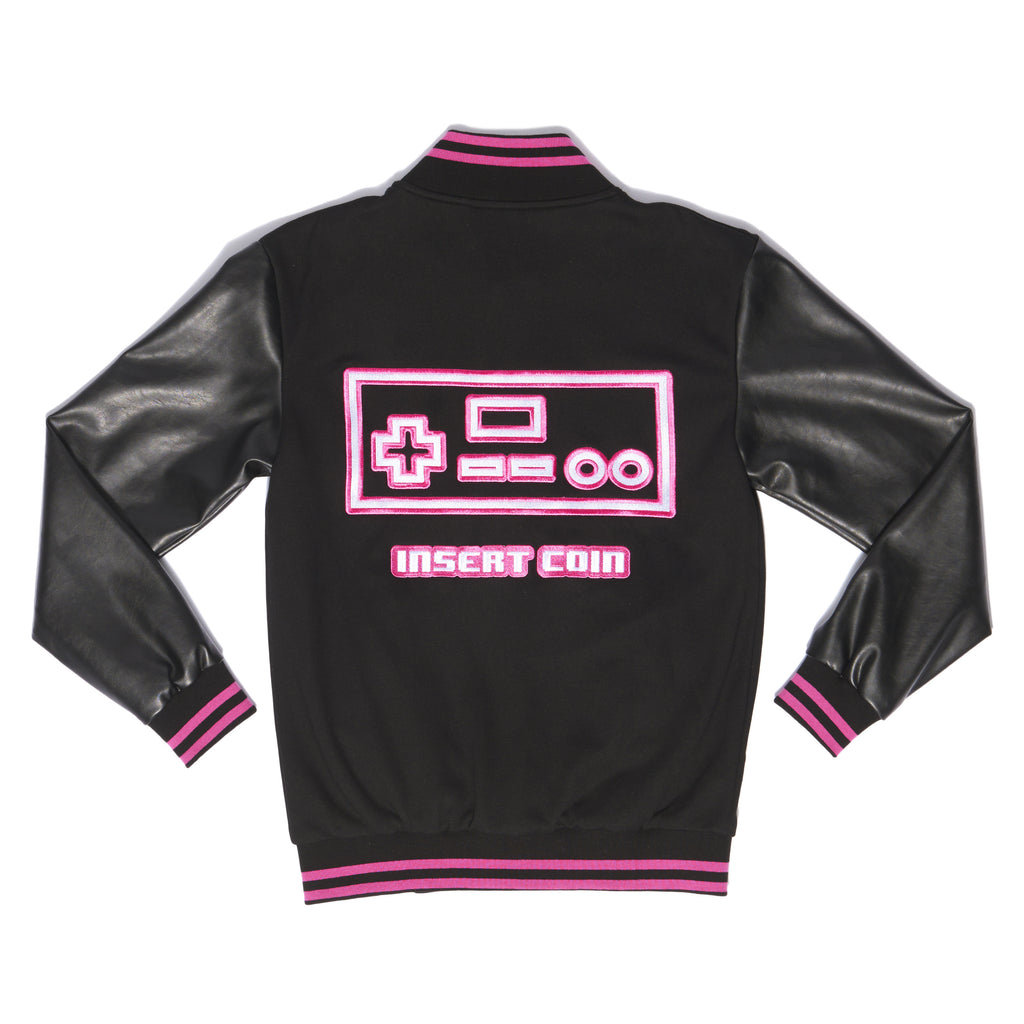 """PLAYER 1"" varsity jacket anniversary black back"