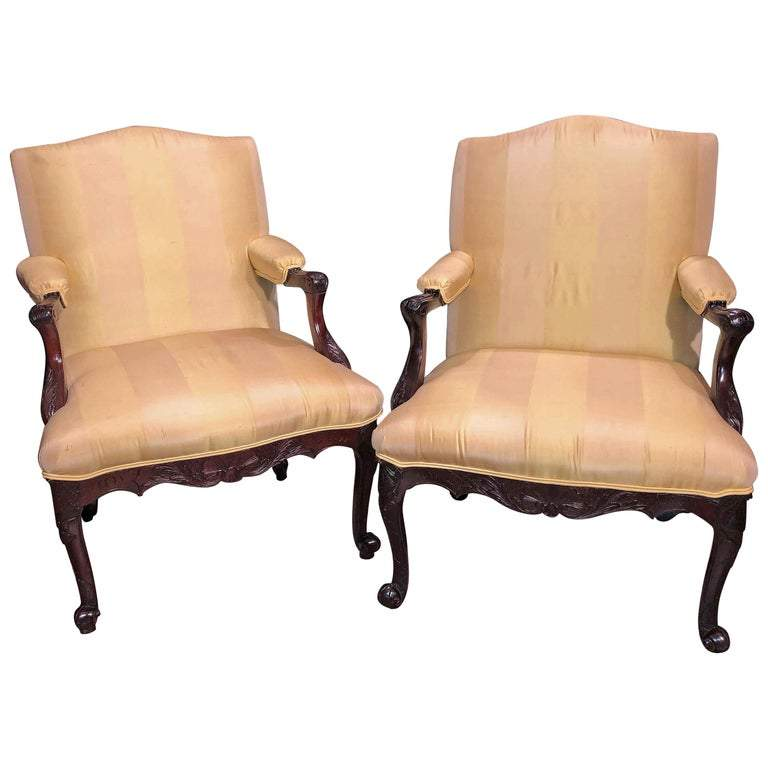 George II Scroll Foot Armchairs