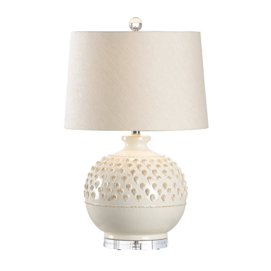Aged Cream Glass Table Lamp