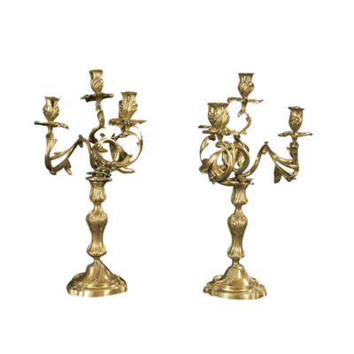 Pair of Louis XV Bronze Candleabra